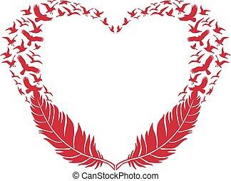 tollazat, repülés, madarak, szív, piros
