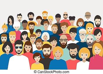 tolong, vector., különböző, nagy, emberek., csoport