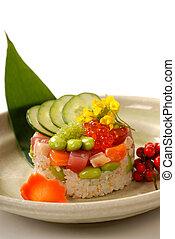 tonhal, finom, előétel, rizs, növényi, forma, japán