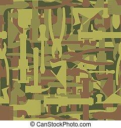 tool., oltalmazó, kalapács, hadsereg, motívum, seamless, struktúra, screwdriver., vektor, álcáz, hadi, katona, builders., ecset, vadász