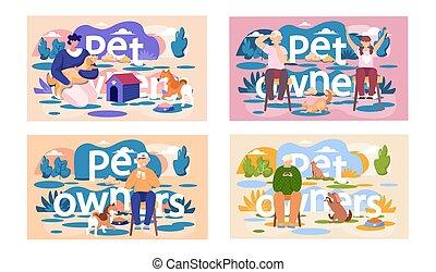 topic, játék, állhatatos, kívül, gyerekek, pets., ábra, emberek, játékok