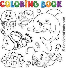 topic, színezés, óceán, fauna, 1, könyv
