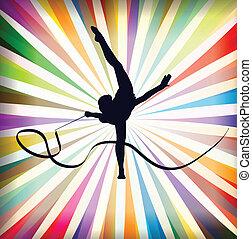 tornagyakorlat, művészet, szivárog, fiatal, ábra, vektor, testedzés, háttér, sport, elvont, szalag, nők