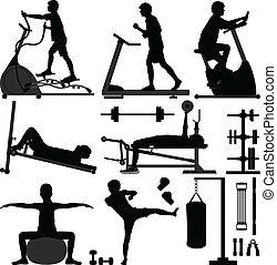 tornaterem, ember, tréning, gyakorlás, tornaterem