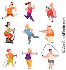 tornaterem, emberek, kövér, vector., állóképesség