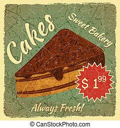 torta, étrend, szelet, retro, kártya