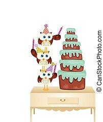 torta, baglyok, születésnap gyertya, feltétel