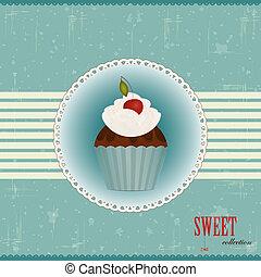 torta, cseresznye, csokoládé