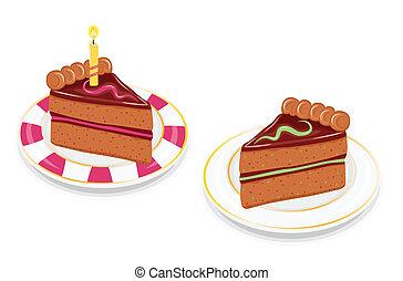 torta, csokoládé, ünnepies, szelet