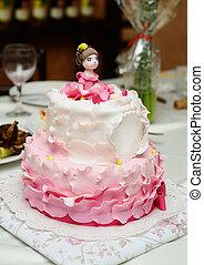 torta, díszes, születésnap, fondant