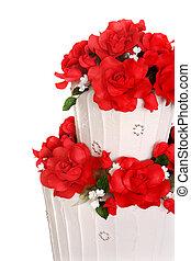 torta, esküvő, piros rózsa