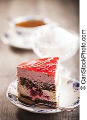 torta, fából való, finom, háttér