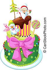 torta, fehér, elszigetelt, háttér, karácsony