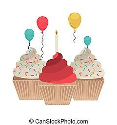 torta, fehér, születésnap, háttér, boldog