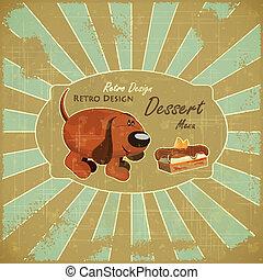 torta, grunge, kutya, háttér, karikatúra