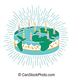 torta, gyertya, ikon