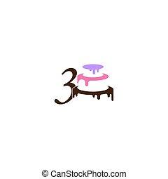 torta, ikon, tervezés, szám, esküvő, 3, sablon, vektor