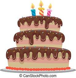 torta, kellemes, születésnap, csokoládé