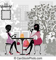torta, nyár, leány, kávéház