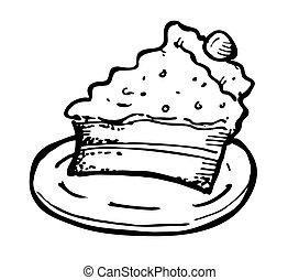torta, sajt, szórakozottan firkálgat