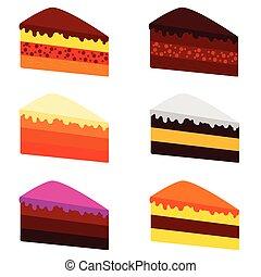 torta, szín, vektor, ábra