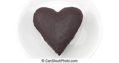 torta, szív, fehér, elszigetelt