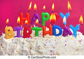 torta, születésnap, boldog
