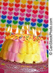 torta, születésnap, kedves