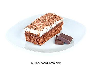 torta, tányér, pieces., utcalány, csokoládé
