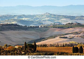 toszkána, tanya, sunrise., épület, szőlőskert, hills., toszkánai, táj