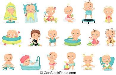 totyogó kisgyerek, úszás, apró, ülés, játék tavacska, vektor, ábra, állhatatos