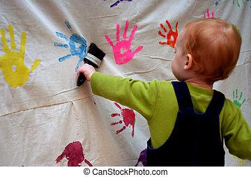 totyogó kisgyerek, festmény