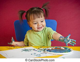 totyogó kisgyerek, festmény, tapogat
