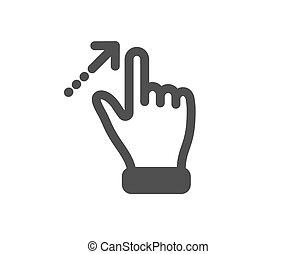 touchscreen, icon., action., vektor, gesztus, cégtábla., elcsór, csúszás, nyíl