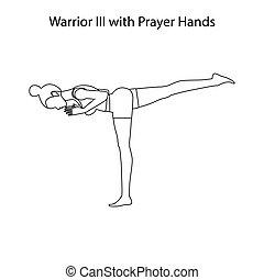 tréning, póz, kézbesít, könyörgés, jóga, áttekintés, iii, harcos