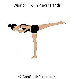tréning, póz, kézbesít, könyörgés, jóga, iii, harcos