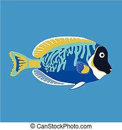 trópusi hal, vektor, ábra, óceán