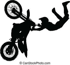 trükk, előadó, árnykép, motorkerékpár rider