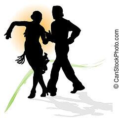 trace., latin, árnykép, tánc, nap, párosít, vektor, zöld, narancs