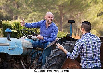 traktor, dolgozó, golfütők, két