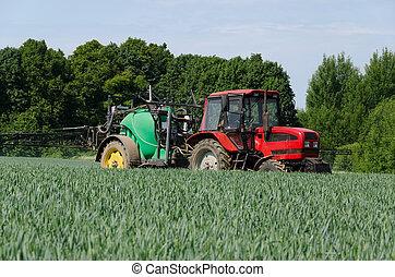 traktor, gépezet, porlasztó, major terep, hosszú, munka