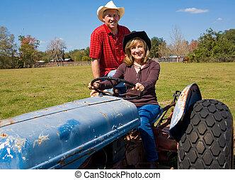 traktor, párosít, érett, tanya