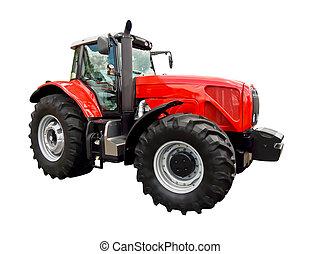 traktor, piros, tanya