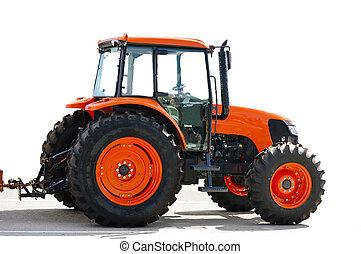 traktor, piros white, mezőgazdaság