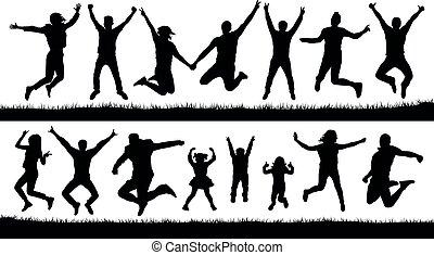 trampoline., emberek, audience., set., fiatal, ruganyosság, elszigetelt, éljenzés, körvonal, vektor, ábra, gyerekek, boldog, ugrás