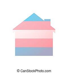 transgender, épület, büszkeség, lobogó