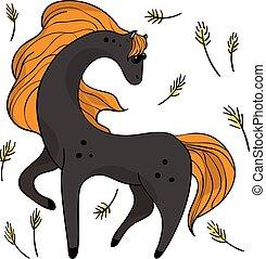 transparent., furcsa, állhatatos, cél, négy, ugrás, horses.