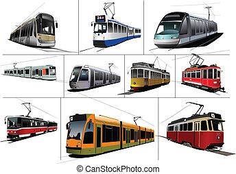 transport., tram., tíz, város, kinds