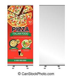 transzparens, áll, tervezés, feláll, pizza, tekercs