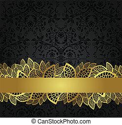 transzparens, arany-, tapéta, fekete